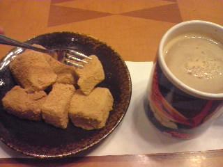 ワラビ餅とコーヒー